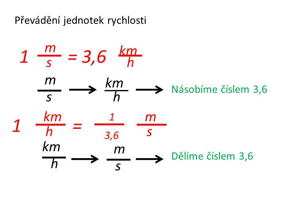 Převádění jednotek rychlosti km h m s 1 h m s = 3,6 Násobíme číslem 3,6 1 m s km h = 1 3,6 km h m s Dělíme číslem 3,6