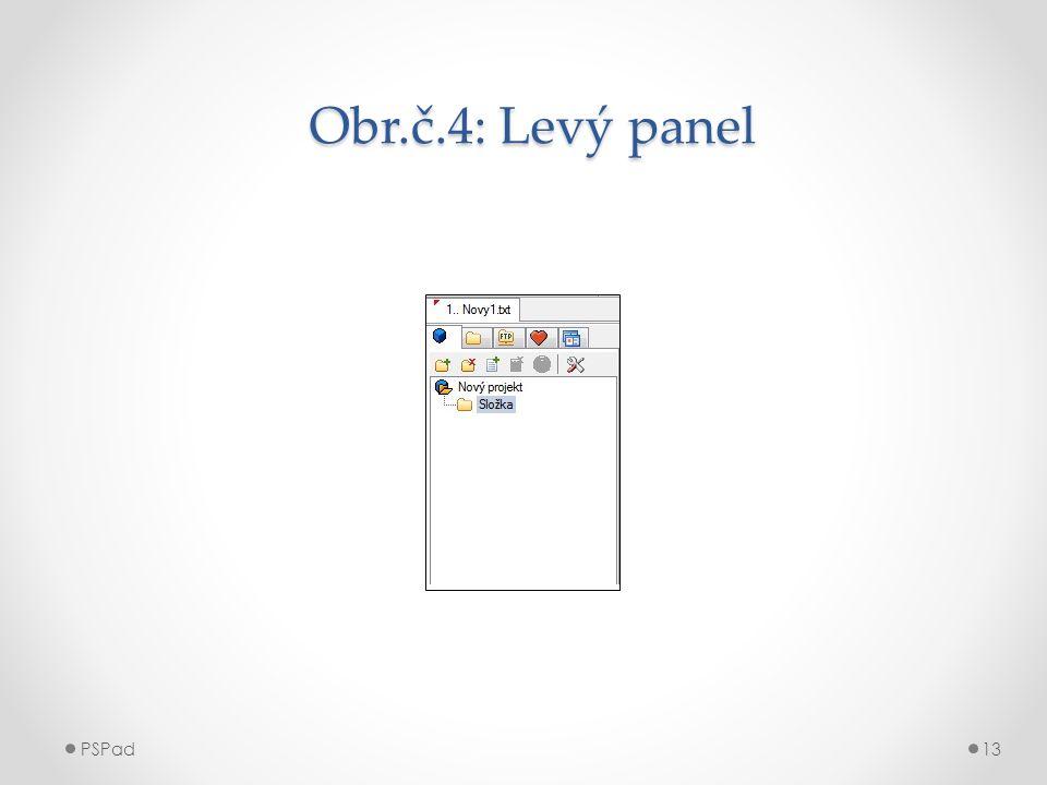 Obr.č.4: Levý panel Obr.č.4: Levý panel PSPad13