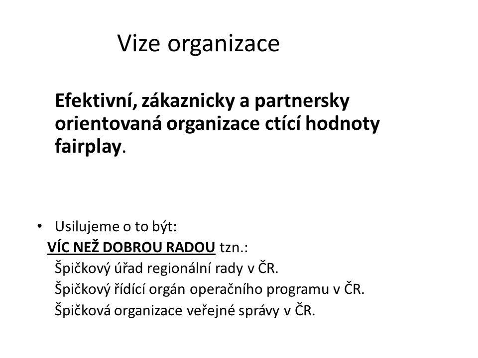 Vize organizace Efektivní, zákaznicky a partnersky orientovaná organizace ctící hodnoty fairplay.