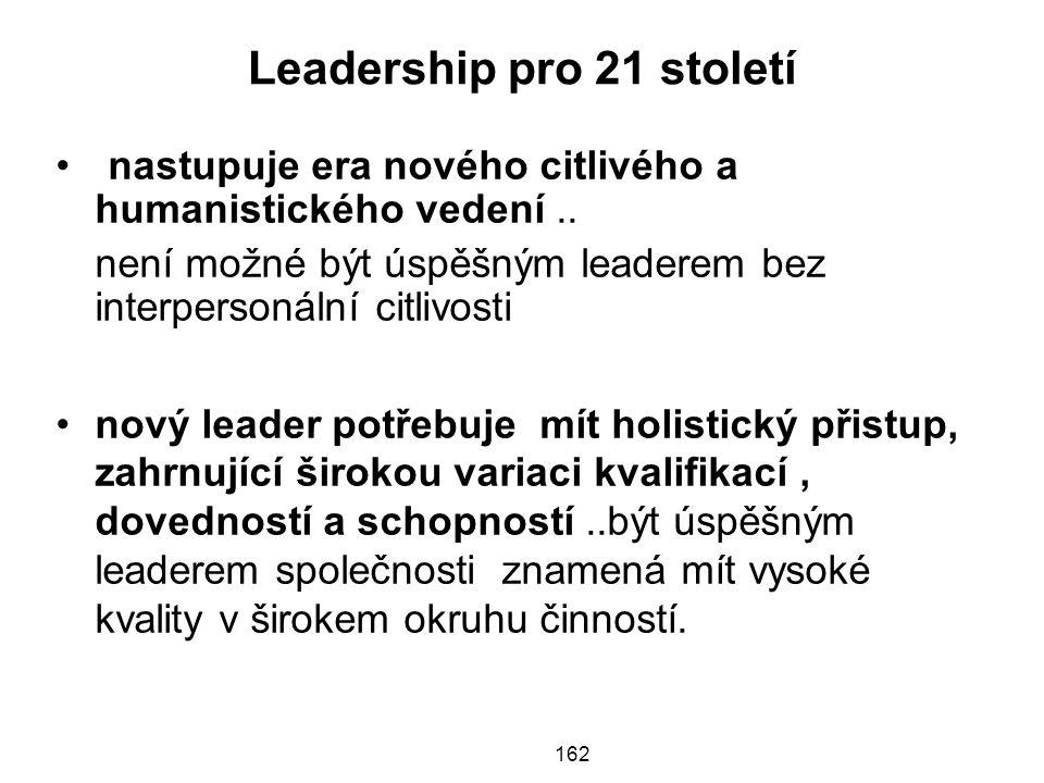 Leadership pro 21 století •nastupuje era nového citlivého a humanistického vedení..