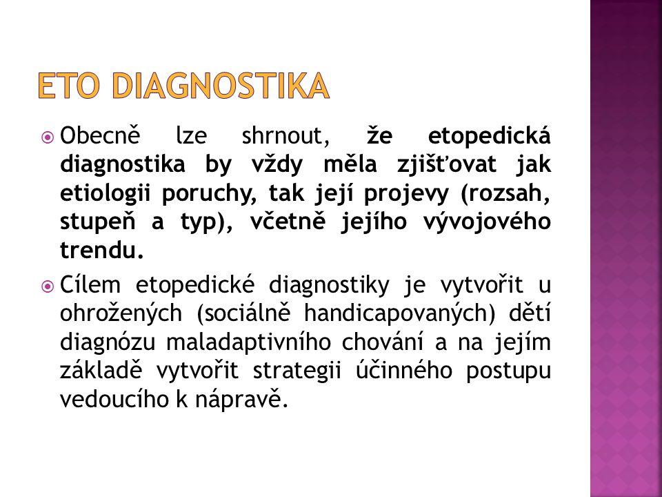  Obecně lze shrnout, že etopedická diagnostika by vždy měla zjišťovat jak etiologii poruchy, tak její projevy (rozsah, stupeň a typ), včetně jejího v