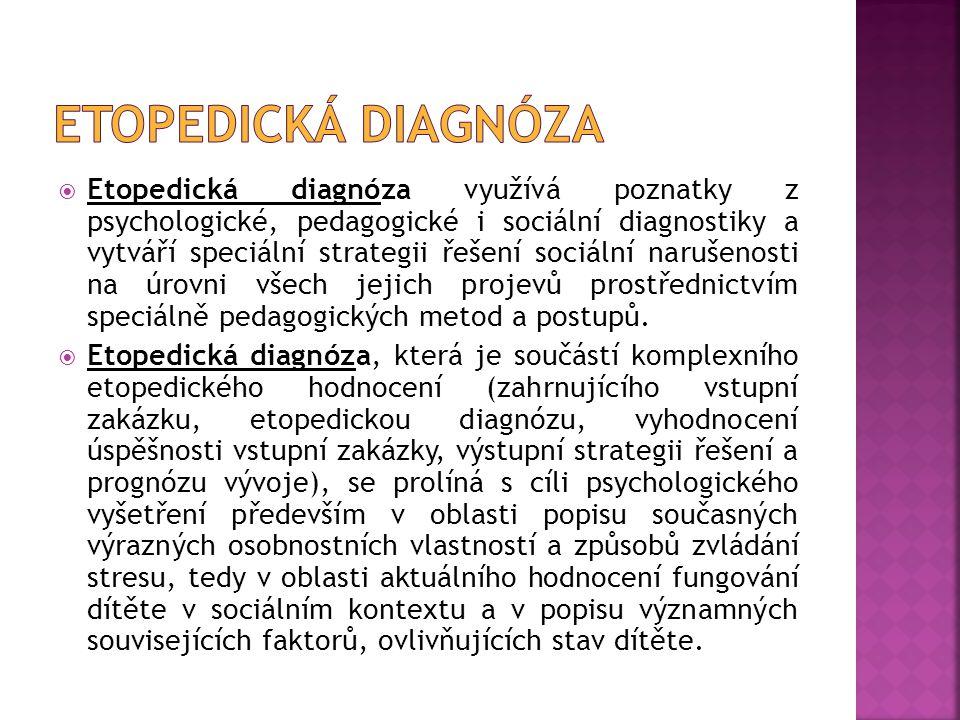 Etopedická diagnóza využívá poznatky z psychologické, pedagogické i sociální diagnostiky a vytváří speciální strategii řešení sociální narušenosti n