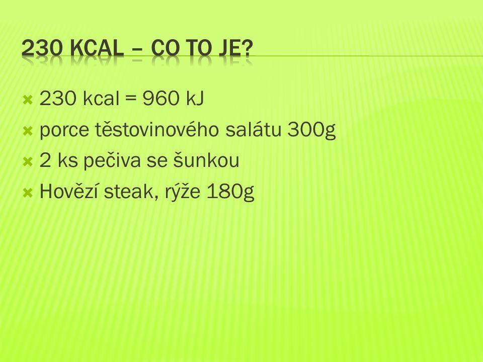  230 kcal = 960 kJ  porce těstovinového salátu 300g  2 ks pečiva se šunkou  Hovězí steak, rýže 180g