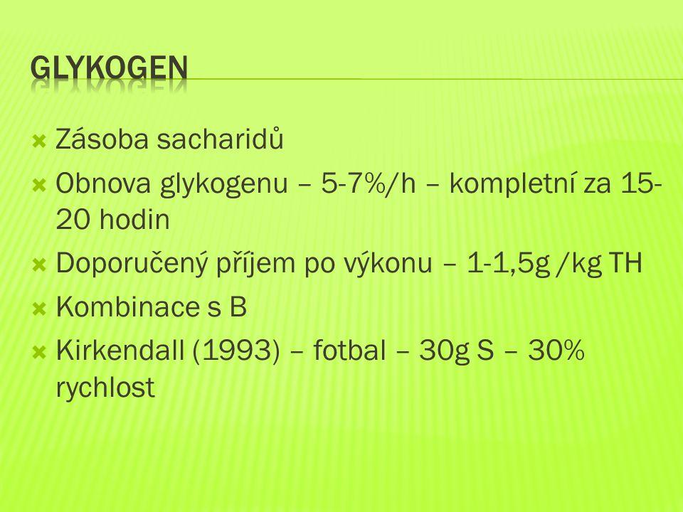  Zásoba sacharidů  Obnova glykogenu – 5-7%/h – kompletní za 15- 20 hodin  Doporučený příjem po výkonu – 1-1,5g /kg TH  Kombinace s B  Kirkendall