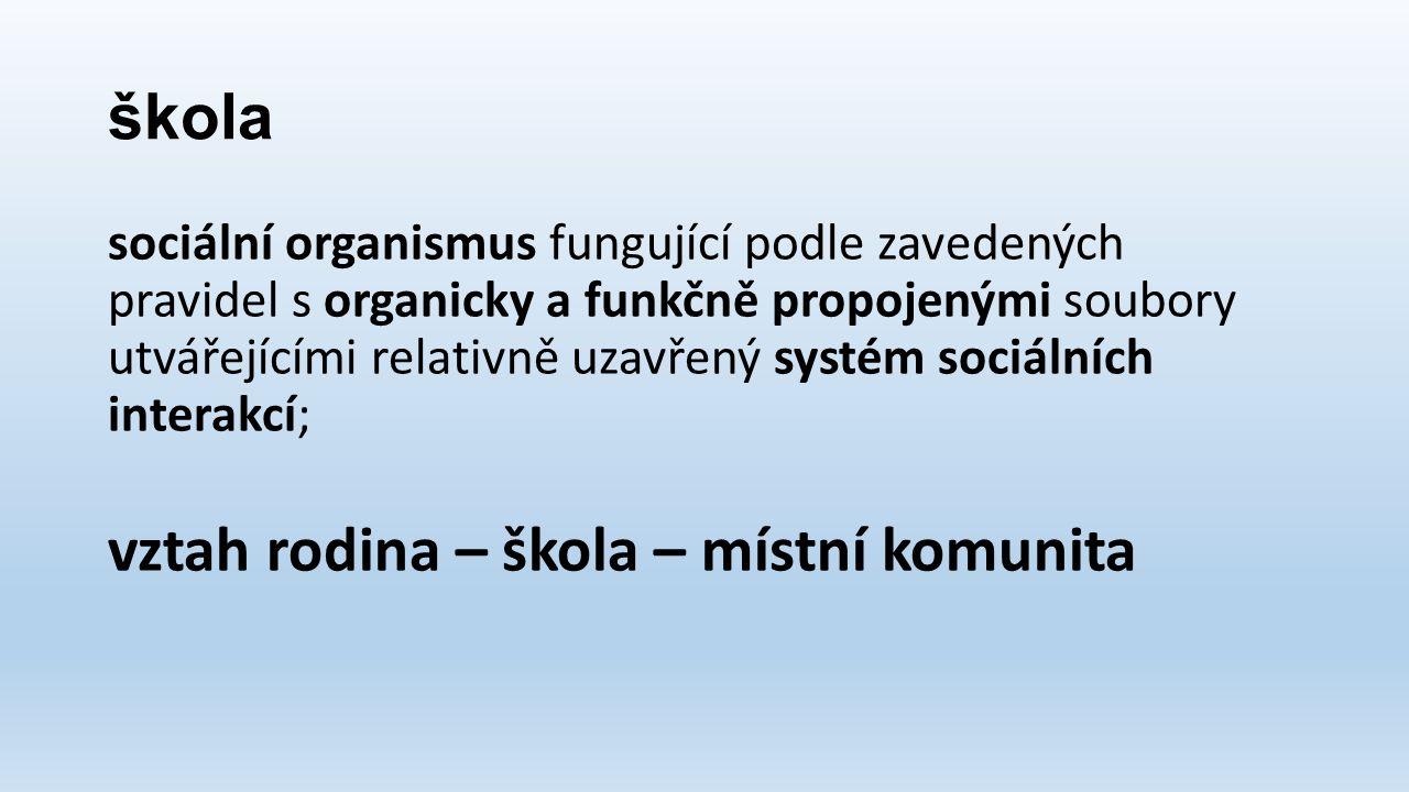 škola sociální organismus fungující podle zavedených pravidel s organicky a funkčně propojenými soubory utvářejícími relativně uzavřený systém sociálních interakcí; vztah rodina – škola – místní komunita