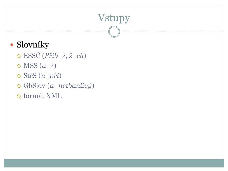 Vstupy  Slovníky  ESSČ (Přib–ž, ž–ch)  MSS (a–ž)  StčS (n–při)  GbSlov (a–netbanlivý)  formát XML