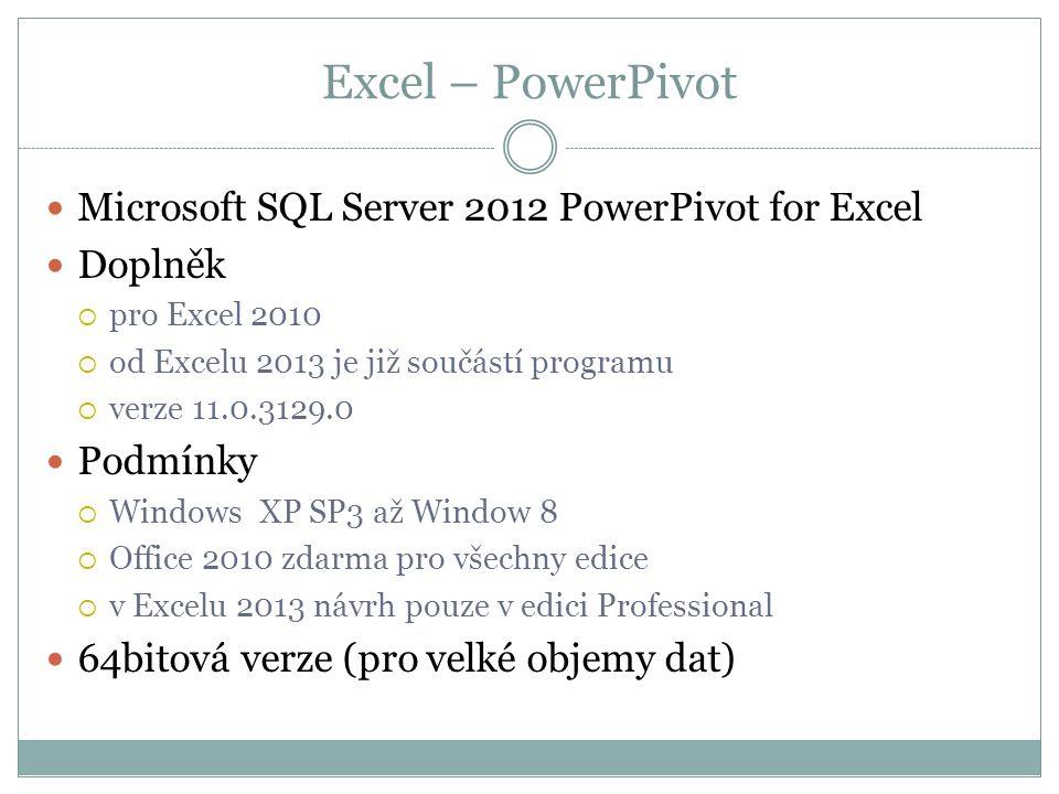 Excel – PowerPivot  Microsoft SQL Server 2012 PowerPivot for Excel  Doplněk  pro Excel 2010  od Excelu 2013 je již součástí programu  verze 11.0.3129.0  Podmínky  Windows XP SP3 až Window 8  Office 2010 zdarma pro všechny edice  v Excelu 2013 návrh pouze v edici Professional  64bitová verze (pro velké objemy dat)