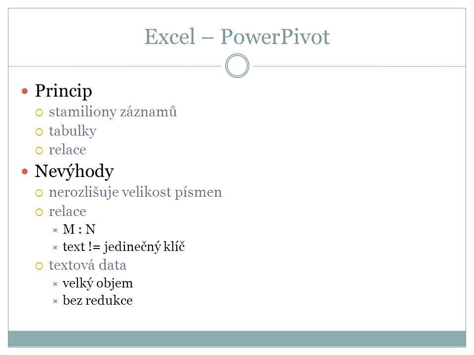 Excel – PowerPivot  Princip  stamiliony záznamů  tabulky  relace  Nevýhody  nerozlišuje velikost písmen  relace  M : N  text != jedinečný klíč  textová data  velký objem  bez redukce