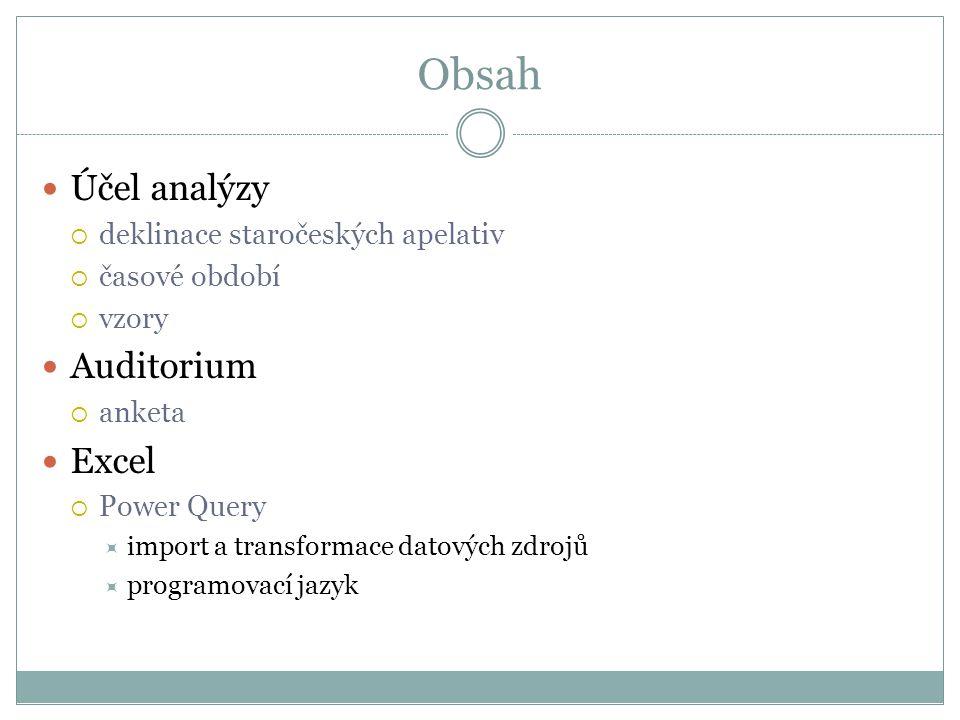 Obsah  Účel analýzy  deklinace staročeských apelativ  časové období  vzory  Auditorium  anketa  Excel  Power Query  import a transformace dat