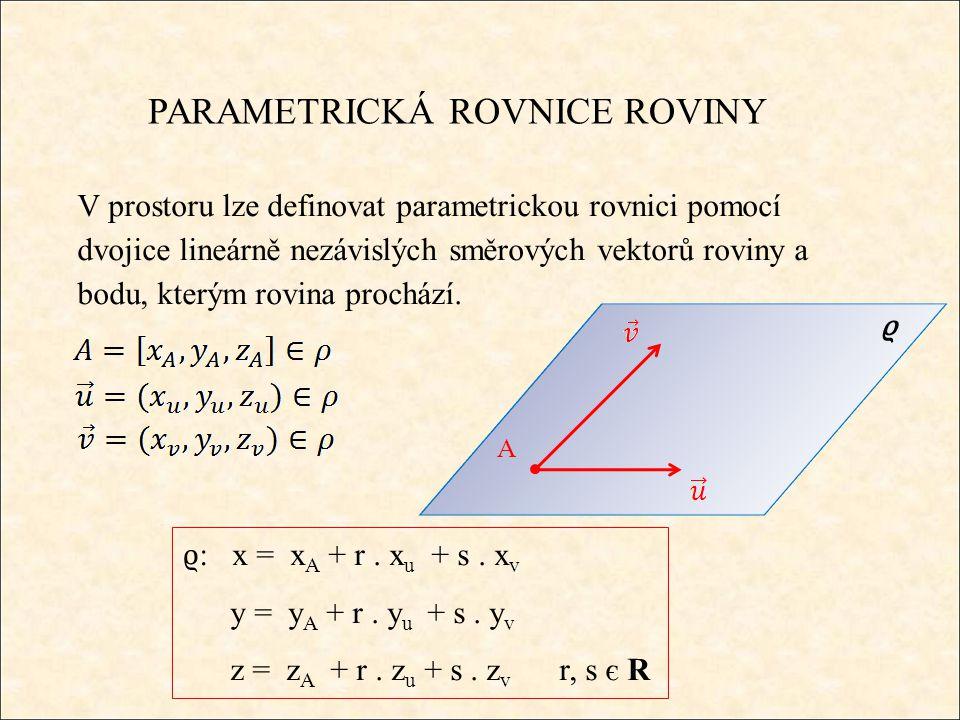 PARAMETRICKÁ ROVNICE ROVINY Příklad 1: Napište parametrickou rovnici roviny, která prochází bodem A = [5, 3, 1] a směrové vektory = (-3, 1, 5) a = (4, -2, -1).