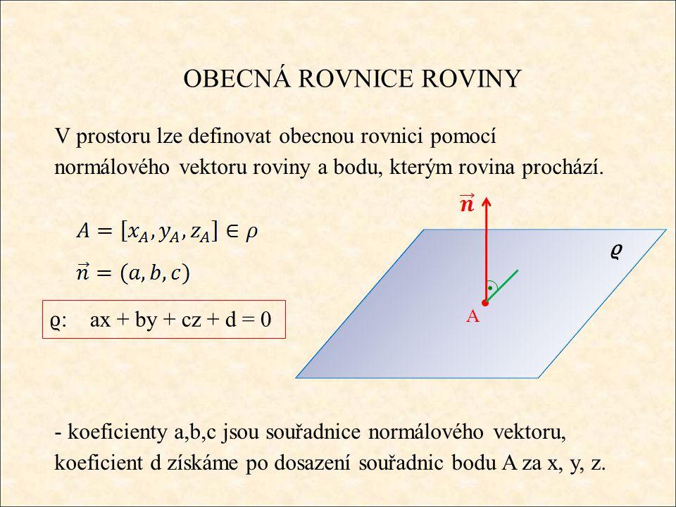 OBECNÁ ROVNICE ROVINY V prostoru lze definovat obecnou rovnici pomocí normálového vektoru roviny a bodu, kterým rovina prochází.