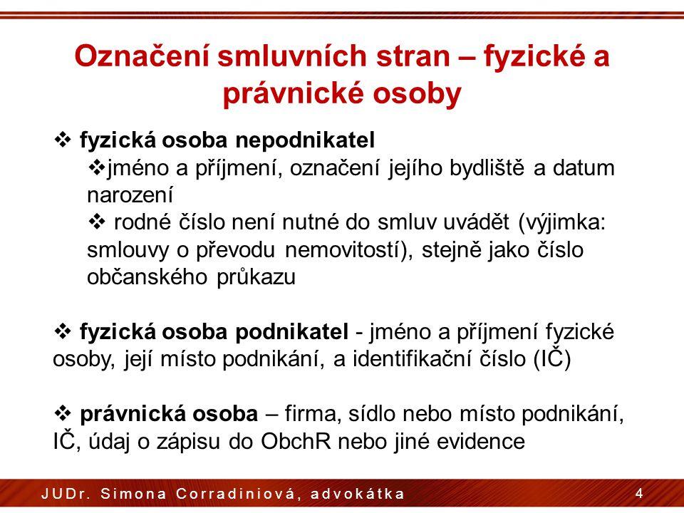 Označení smluvních stran – fyzické a právnické osoby 4 JUDr.