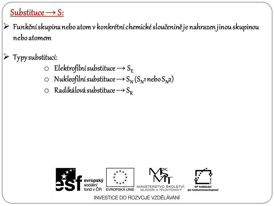 Substituce → S:  Funkční skupina nebo atom v konkrétní chemické sloučenině je nahrazen jinou skupinou nebo atomem  Typy substitucí: o Elektrofilní s