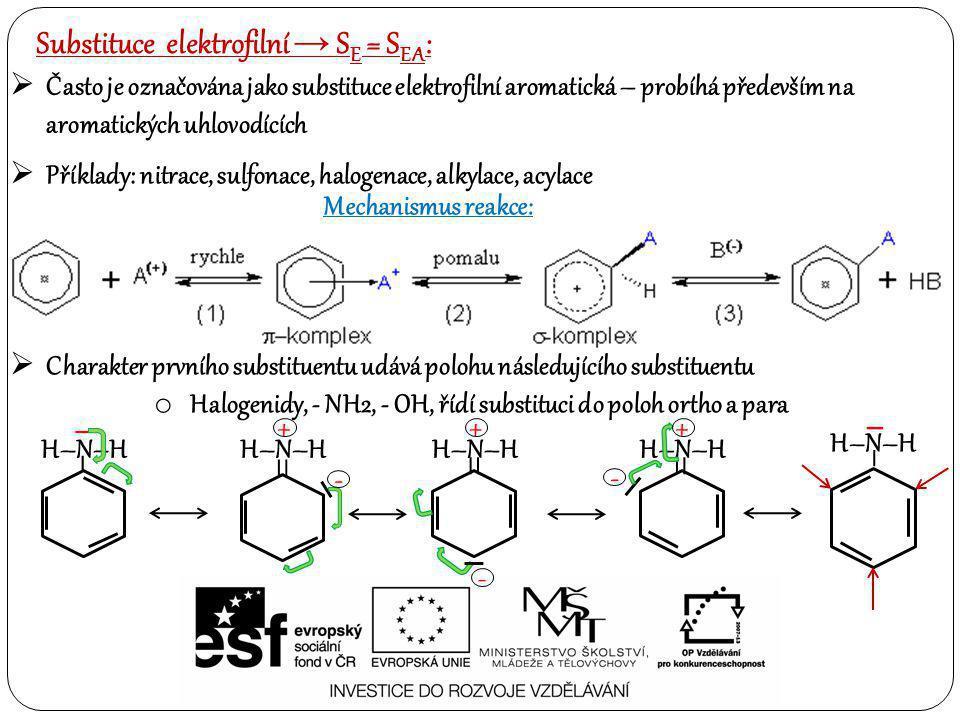 Často je označována jako substituce elektrofilní aromatická – probíhá především na aromatických uhlovodících Substituce elektrofilní → S E = S EA :