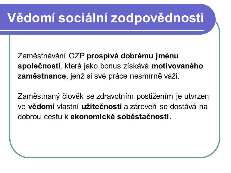 Vědomí sociální zodpovědnosti Zaměstnávání OZP prospívá dobrému jménu společnosti, která jako bonus získává motivovaného zaměstnance, jenž si své prác