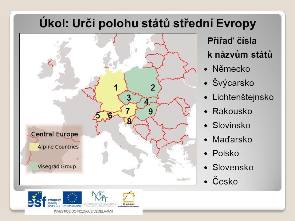 Úkol: Urči polohu států střední Evropy Přiřaď čísla k názvům států  Německo  Švýcarsko  Lichtenštejnsko  Rakousko  Slovinsko  Maďarsko  Polsko