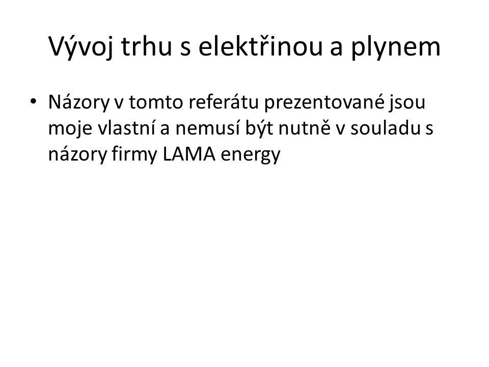 Vývoj trhu s elektřinou a plynem • Názory v tomto referátu prezentované jsou moje vlastní a nemusí být nutně v souladu s názory firmy LAMA energy
