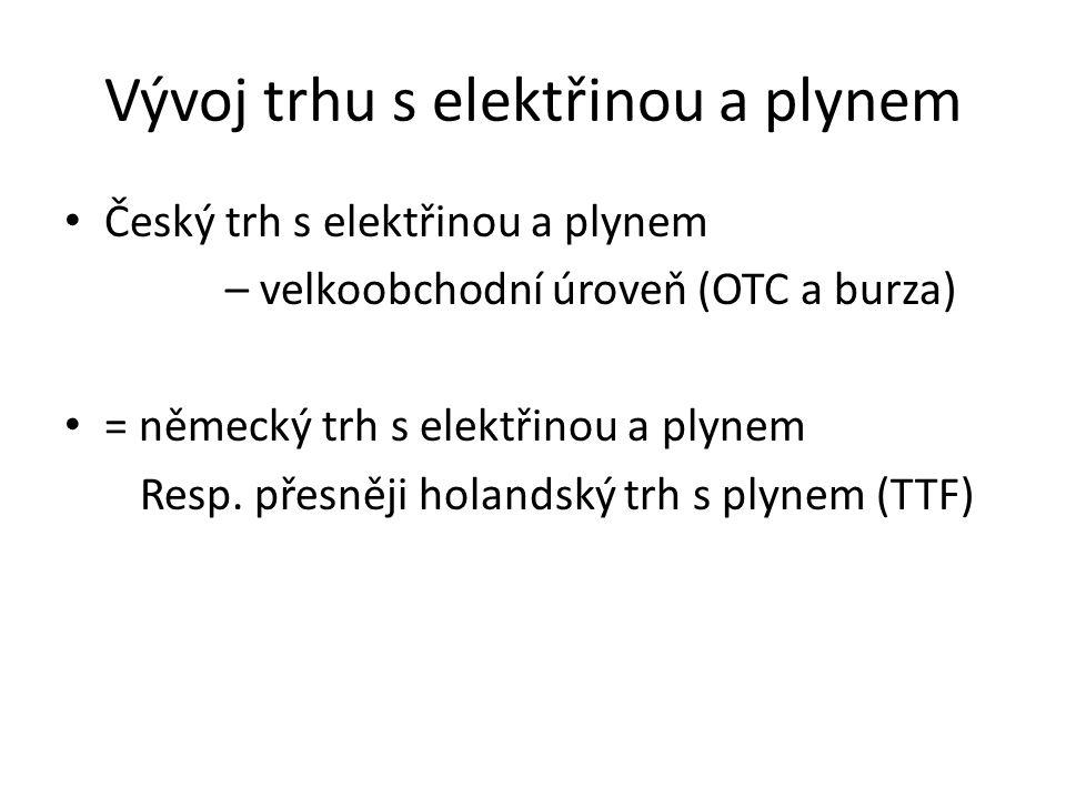 Vývoj trhu s elektřinou a plynem • Český trh s elektřinou a plynem – velkoobchodní úroveň (OTC a burza) • = německý trh s elektřinou a plynem Resp. př