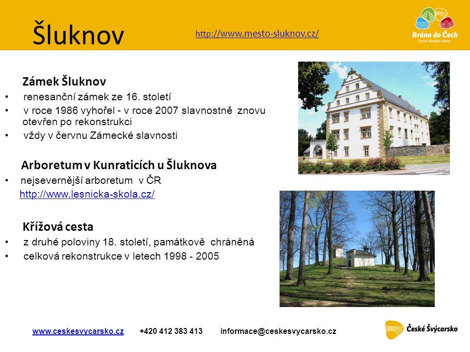 Šluknov Zámek Šluknov • renesanční zámek z e 16. století • v roce 1986 vyhořel - v roce 2007 slavnostně znovu otevřen po rekonstrukci • vždy v červnu