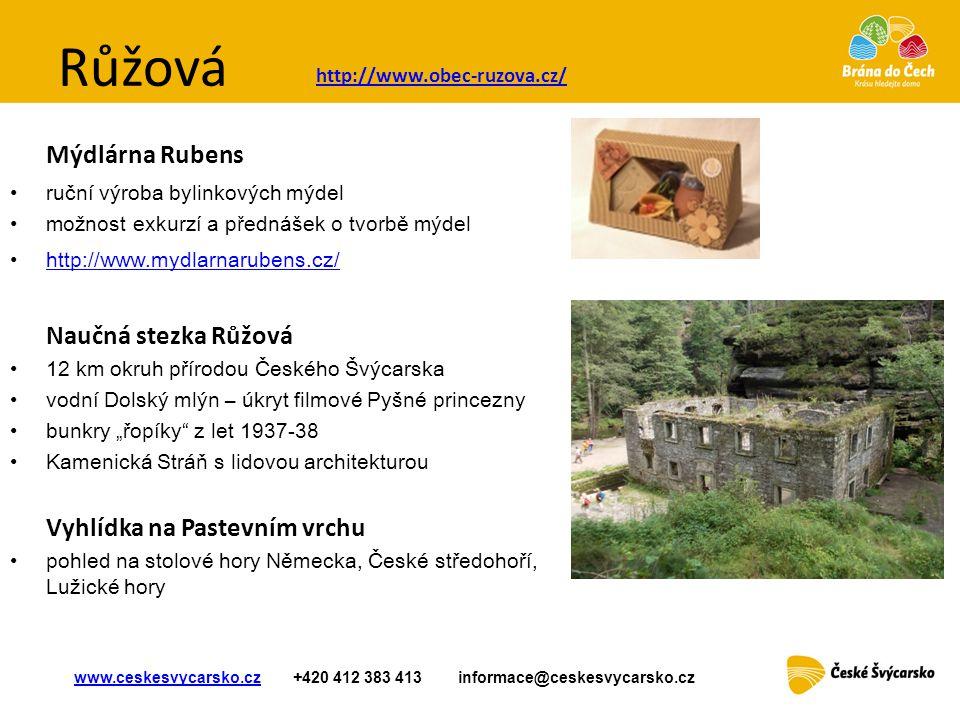 Růžová Mýdlárna Rubens • ruční výroba bylinkových mýdel •možnost exkurzí a přednášek o tvorbě mýdel • http://www.mydlarnarubens.cz/ http://www.mydlarn