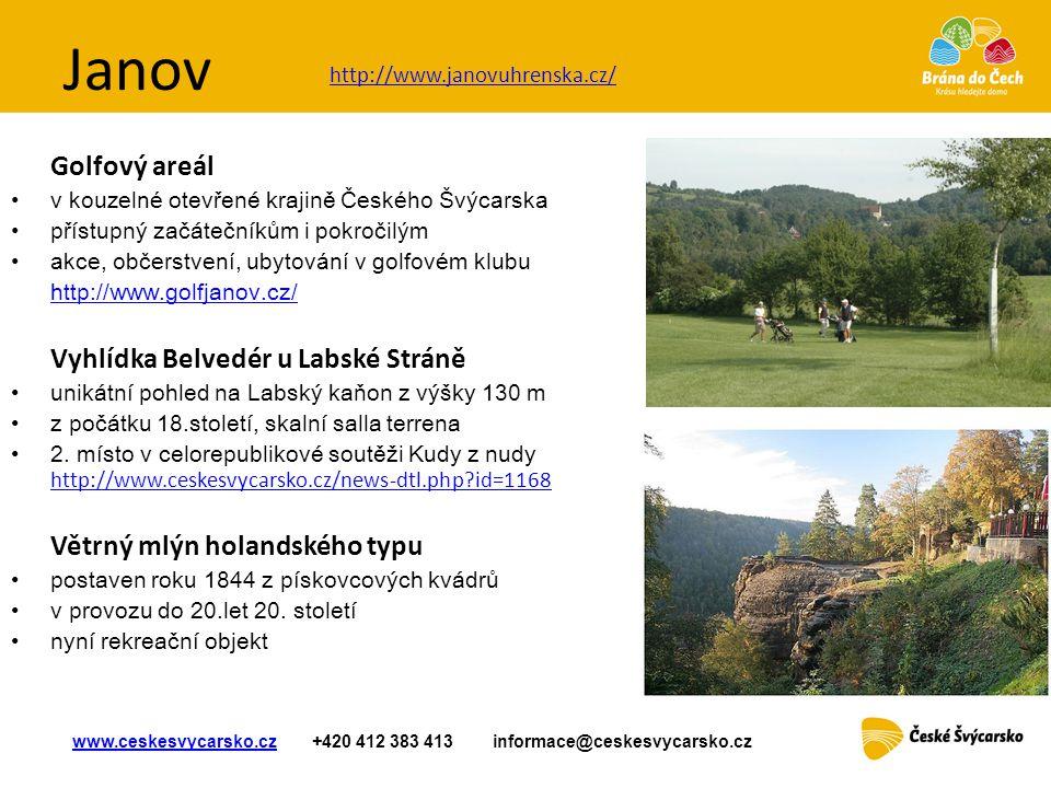 Janov Golfový areál • v kouzelné otevřené krajině Českého Švýcarska • přístupný začátečníkům i pokročilým •akce, občerstvení, ubytování v golfovém klu