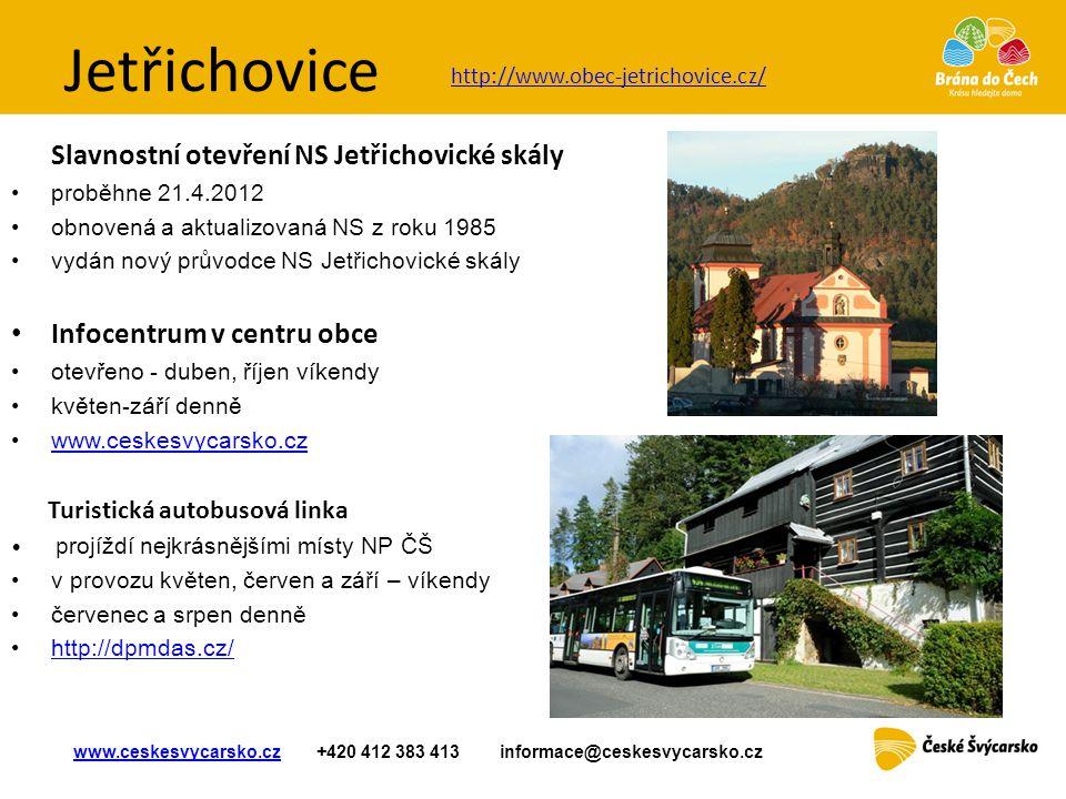 Jetřichovice Slavnostní otevření NS Jetřichovické skály •proběhne 21.4.2012 •obnovená a aktualizovaná NS z roku 1985 •vydán nový průvodce NS Jetřichov