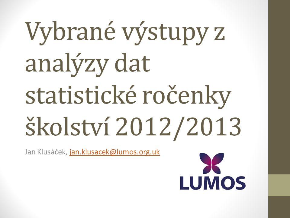 Zdroj dat • Statistická ročenka školství 2012/2013 (výkonové ukazatele) • Statistická ročenka školství vychází z dat ze školních matrik, které školy odevzdávají vždy MŠMT k 31.9.