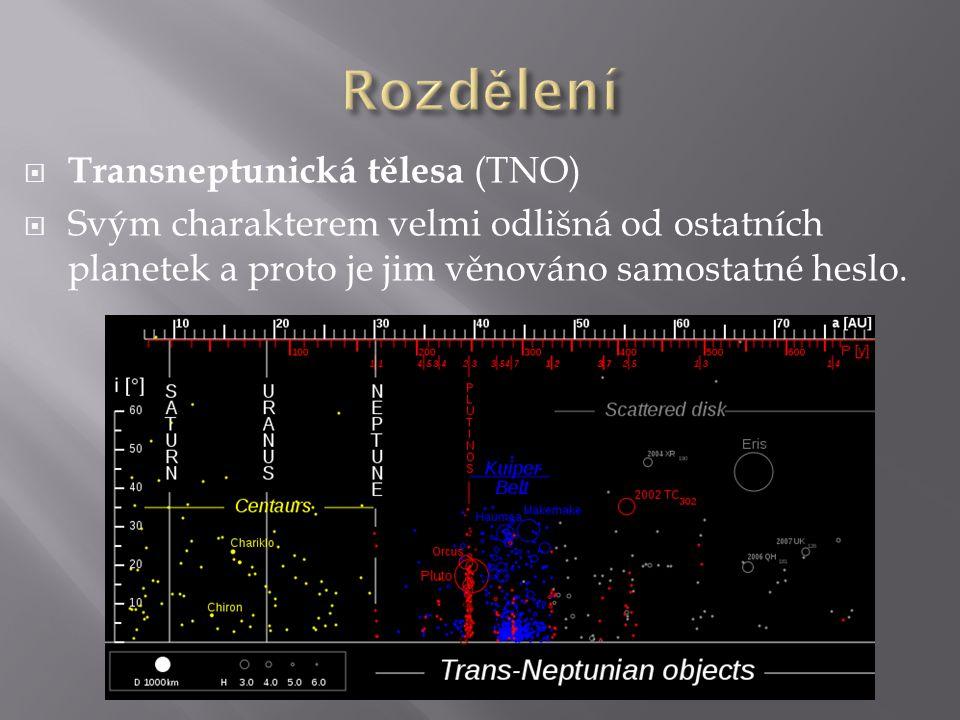  Transneptunická tělesa (TNO)  Svým charakterem velmi odlišná od ostatních planetek a proto je jim věnováno samostatné heslo.