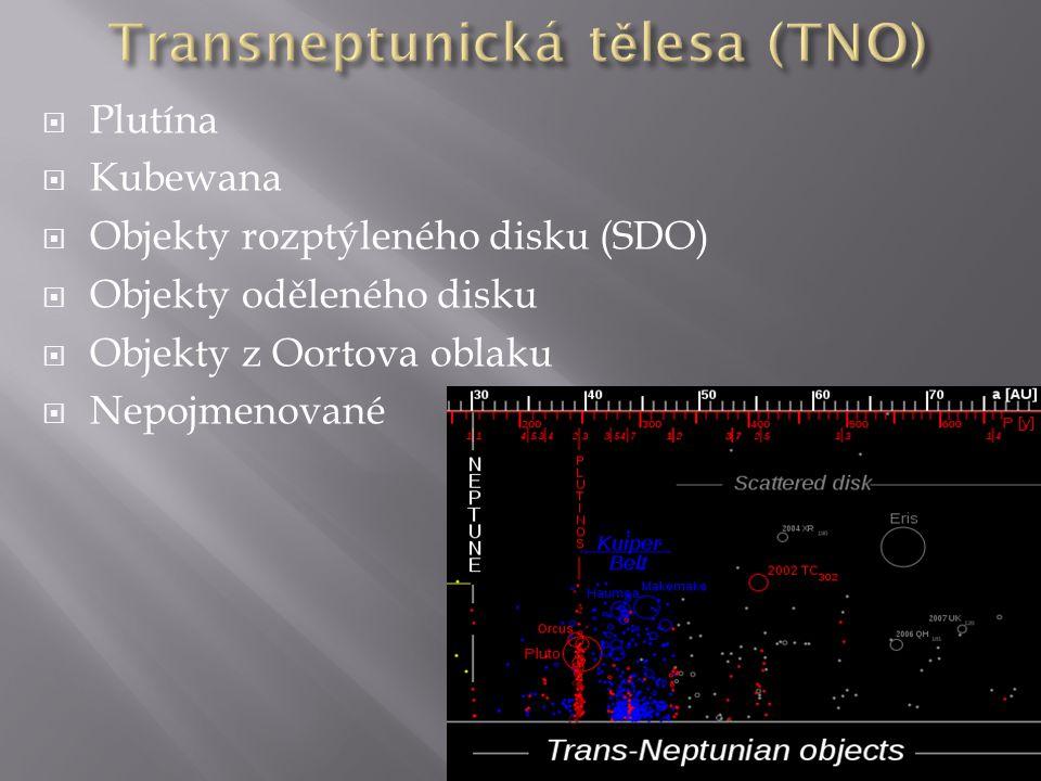  Plutína  Kubewana  Objekty rozptýleného disku (SDO)  Objekty oděleného disku  Objekty z Oortova oblaku  Nepojmenované