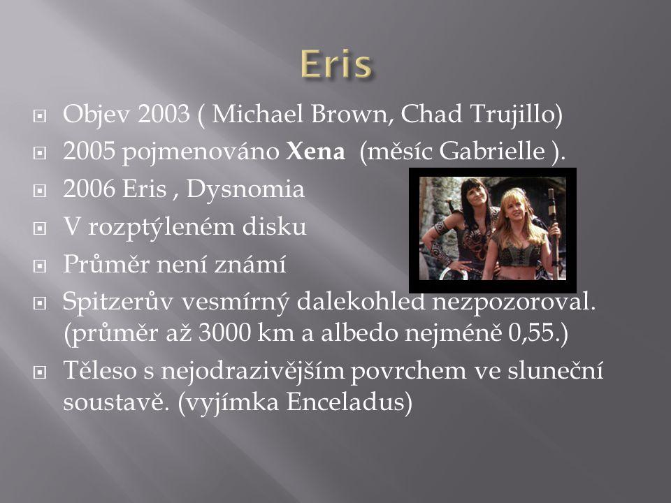  Objev 2003 ( Michael Brown, Chad Trujillo)  2005 pojmenováno Xena (měsíc Gabrielle ).  2006 Eris, Dysnomia  V rozptýleném disku  Průměr není zná