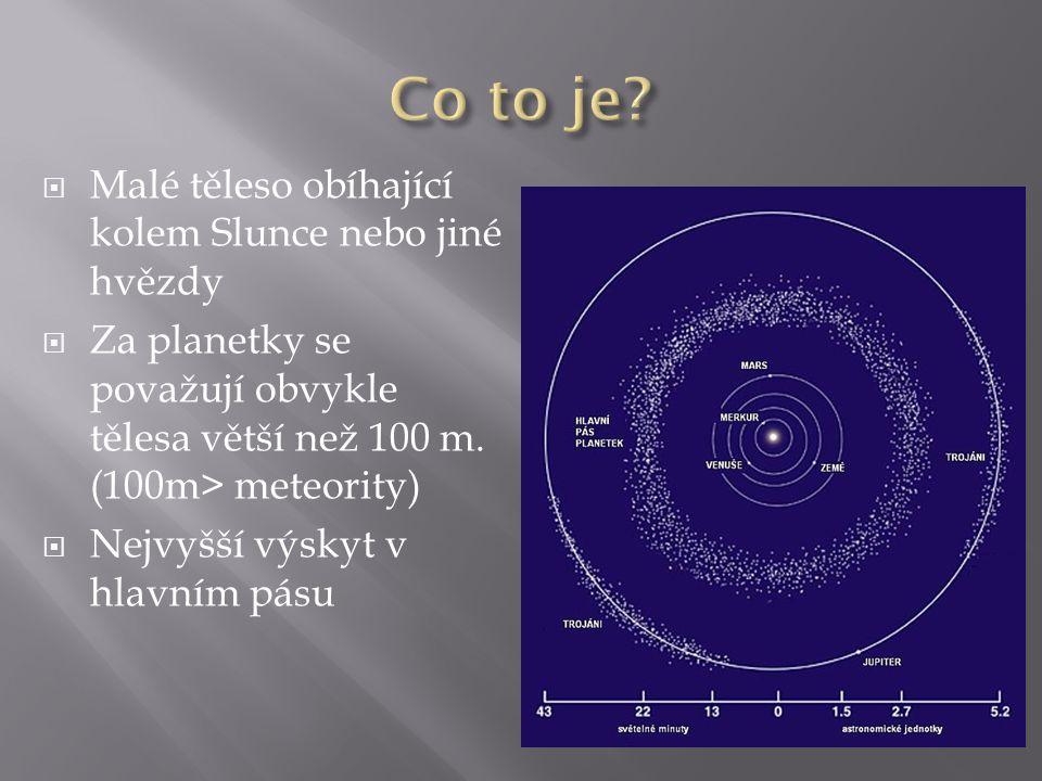  Malé těleso obíhající kolem Slunce nebo jiné hvězdy  Za planetky se považují obvykle tělesa větší než 100 m. (100m> meteority)  Nejvyšší výskyt v