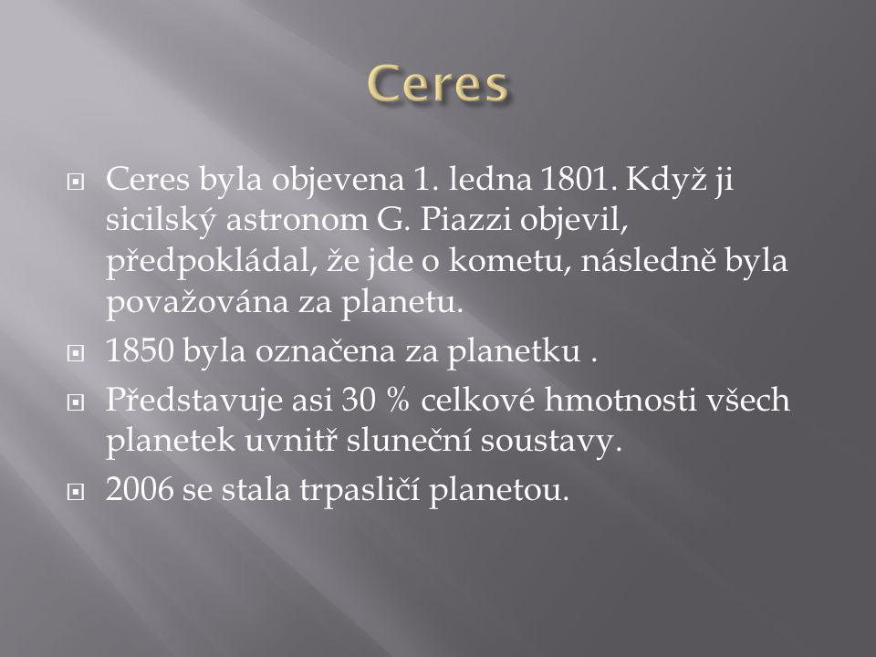  Ceres byla objevena 1. ledna 1801. Když ji sicilský astronom G. Piazzi objevil, předpokládal, že jde o kometu, následně byla považována za planetu.