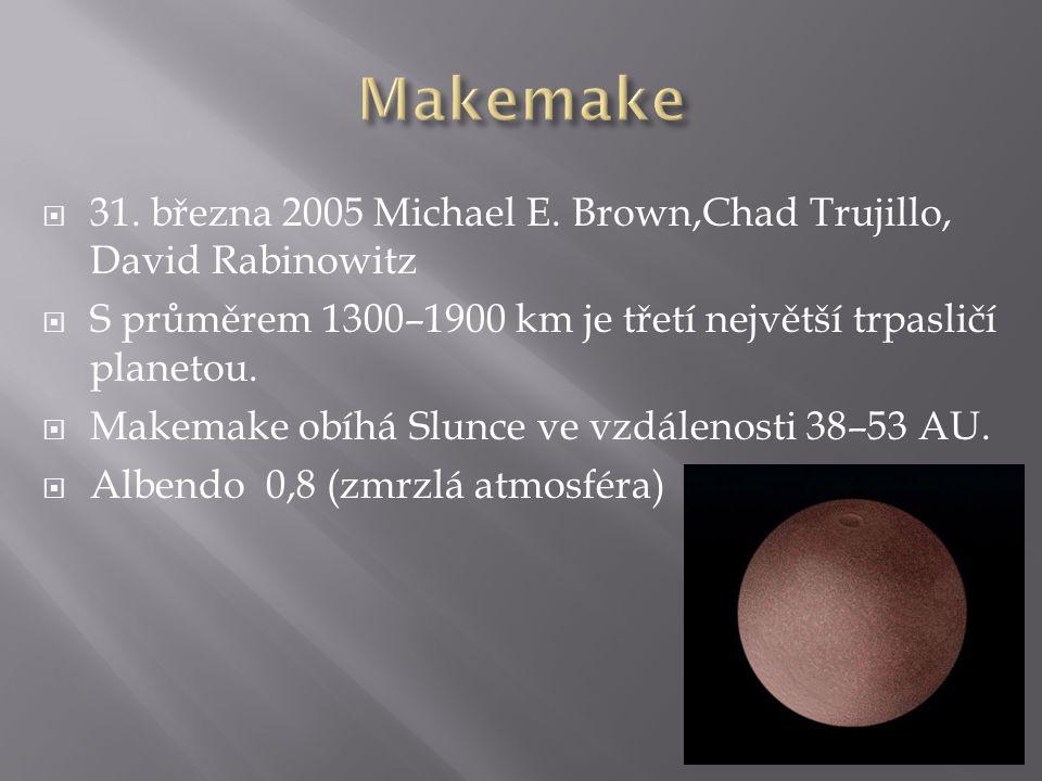  31. března 2005 Michael E. Brown,Chad Trujillo, David Rabinowitz  S průměrem 1300–1900 km je třetí největší trpasličí planetou.  Makemake obíhá Sl