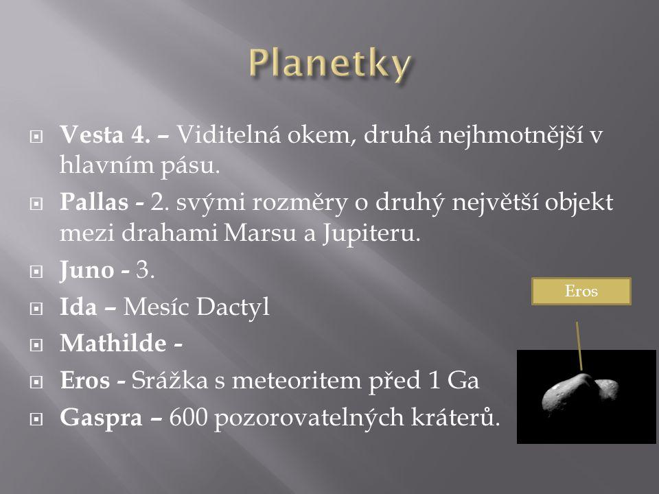  Vesta 4. – Viditelná okem, druhá nejhmotnější v hlavním pásu.  Pallas - 2. svými rozměry o druhý největší objekt mezi drahami Marsu a Jupiteru.  J