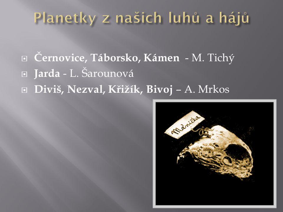  Černovice, Táborsko, Kámen - M. Tichý  Jarda - L. Šarounová  Diviš, Nezval, Křižík, Bivoj – A. Mrkos