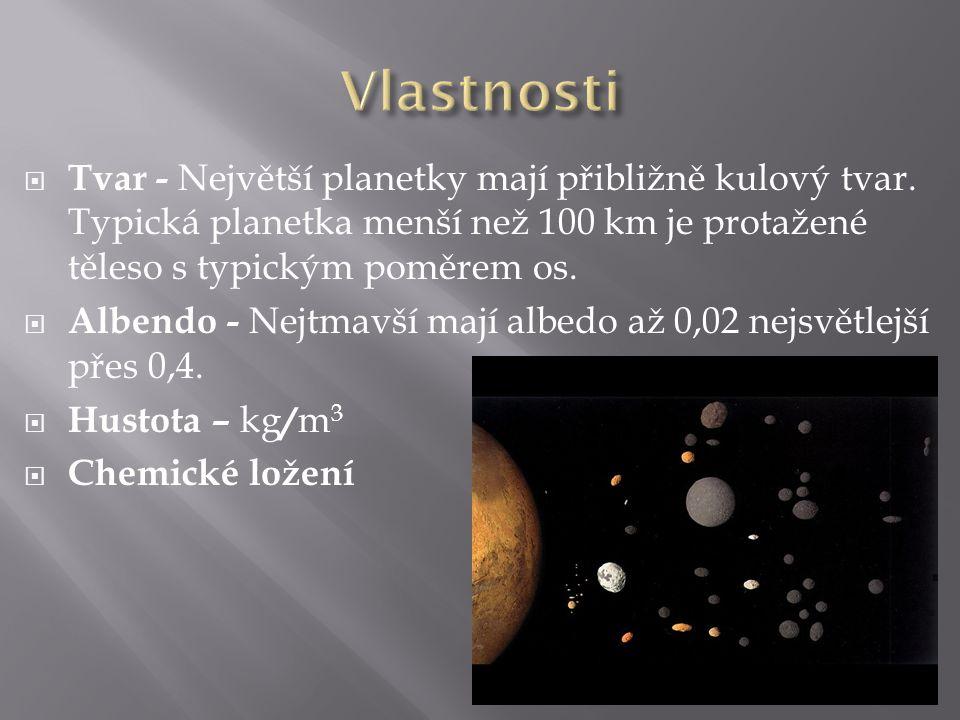  Tvar - Největší planetky mají přibližně kulový tvar. Typická planetka menší než 100 km je protažené těleso s typickým poměrem os.  Albendo - Nejtma