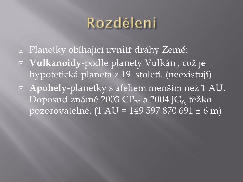  Planetky obíhající uvnitř dráhy Země:  Vulkanoidy -podle planety Vulkán, což je hypotetická planeta z 19. století. (neexistují)  Apohely -planetky