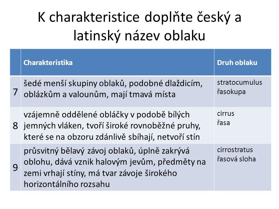 K charakteristice doplňte český a latinský název oblaku CharakteristikaDruh oblaku 7 šedé menší skupiny oblaků, podobné dlaždicím, oblázkům a valounům