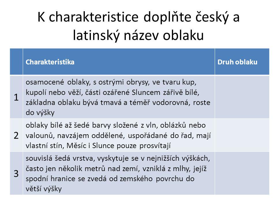 K charakteristice doplňte český a latinský název oblaku CharakteristikaDruh oblaku 1 osamocené oblaky, s ostrými obrysy, ve tvaru kup, kupolí nebo věž