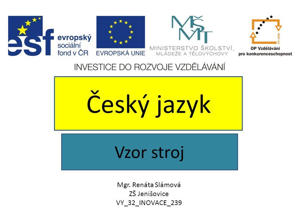 Vzor stroj Český jazyk Mgr. Renáta Slámová ZŠ Jenišovice VY_32_INOVACE_239