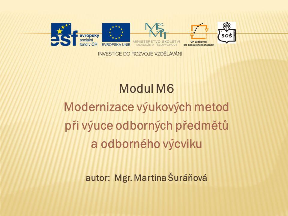 Modul M6 Modernizace výukových metod při výuce odborných předmětů a odborného výcviku autor: Mgr. Martina Šuráňová