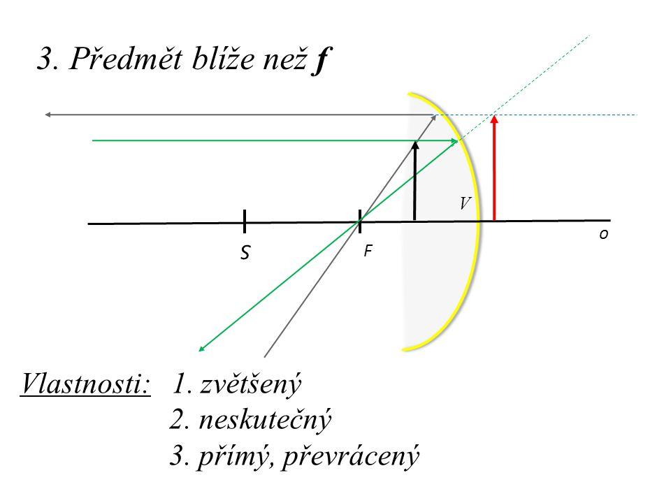 3. Předmět blíže než f o F S Vlastnosti: 1. zvětšený 2. neskutečný 3. přímý, převrácený V