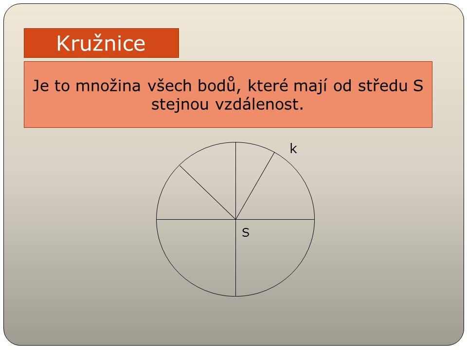 Kružnice Je to množina všech bodů, které mají od středu S stejnou vzdálenost. S k