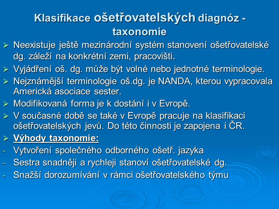 Klasifikace ošetřovatelských diagnóz - taxonomie  Neexistuje ještě mezinárodní systém stanovení ošetřovatelské dg.