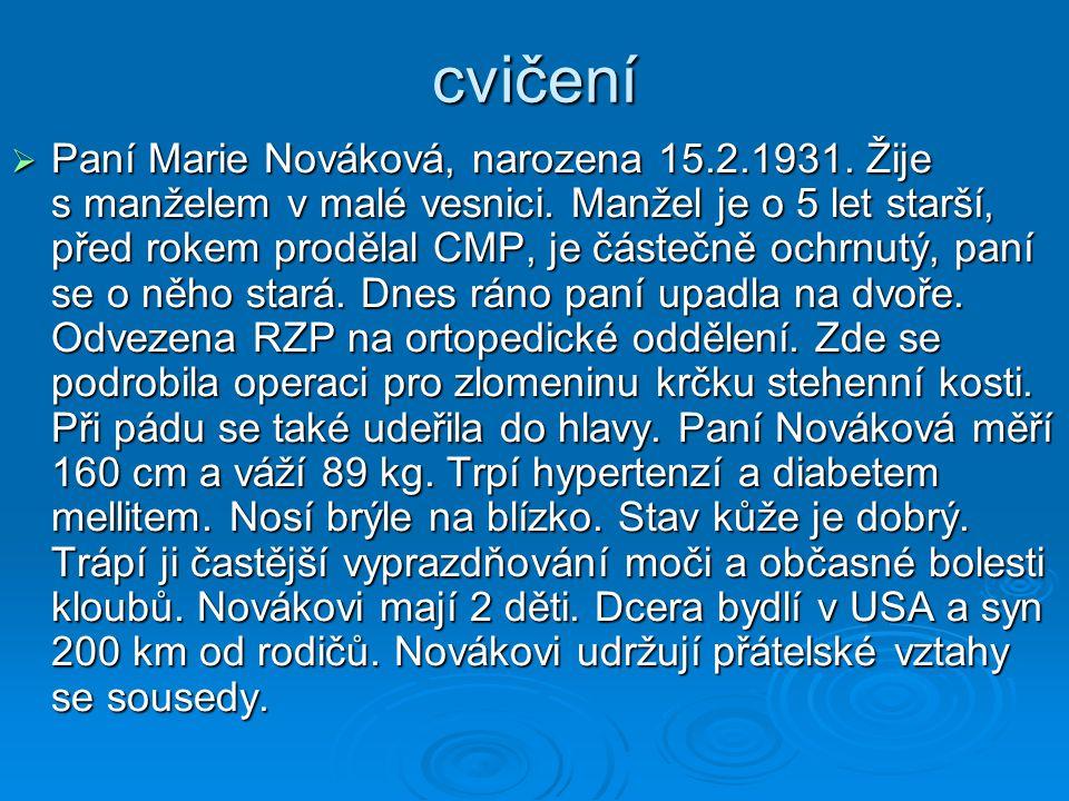 cvičení  Paní Marie Nováková, narozena 15.2.1931.