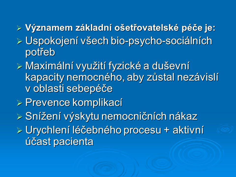  Významem základní ošetřovatelské péče je:  Uspokojení všech bio-psycho-sociálních potřeb  Maximální využití fyzické a duševní kapacity nemocného, aby zůstal nezávislí v oblasti sebepéče  Prevence komplikací  Snížení výskytu nemocničních nákaz  Urychlení léčebného procesu + aktivní účast pacienta