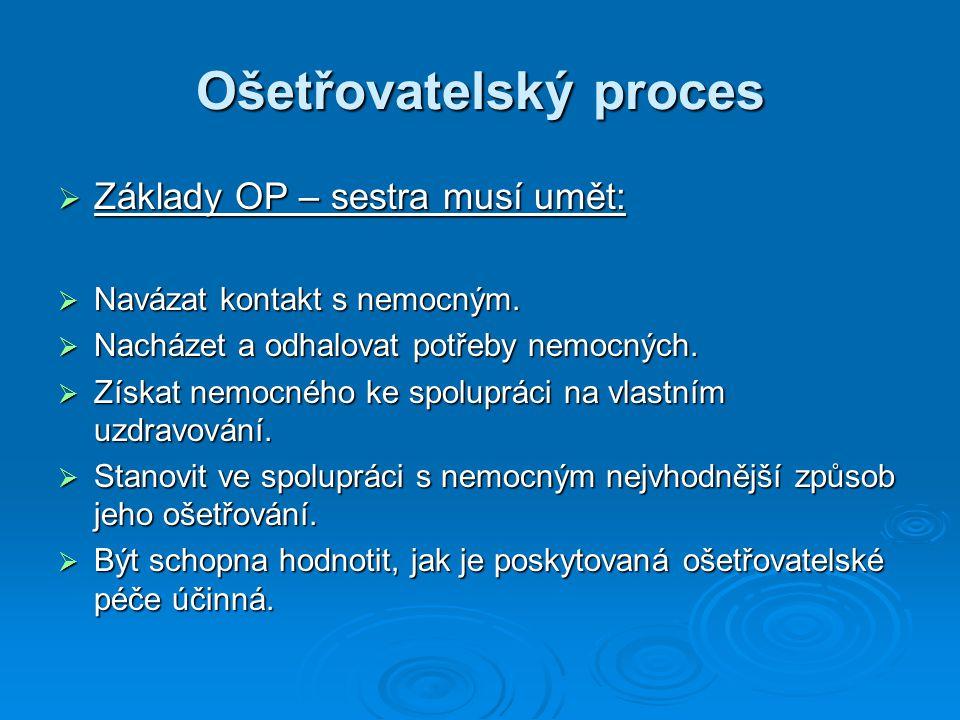 Ošetřovatelský proces  Základy OP – sestra musí umět:  Navázat kontakt s nemocným.