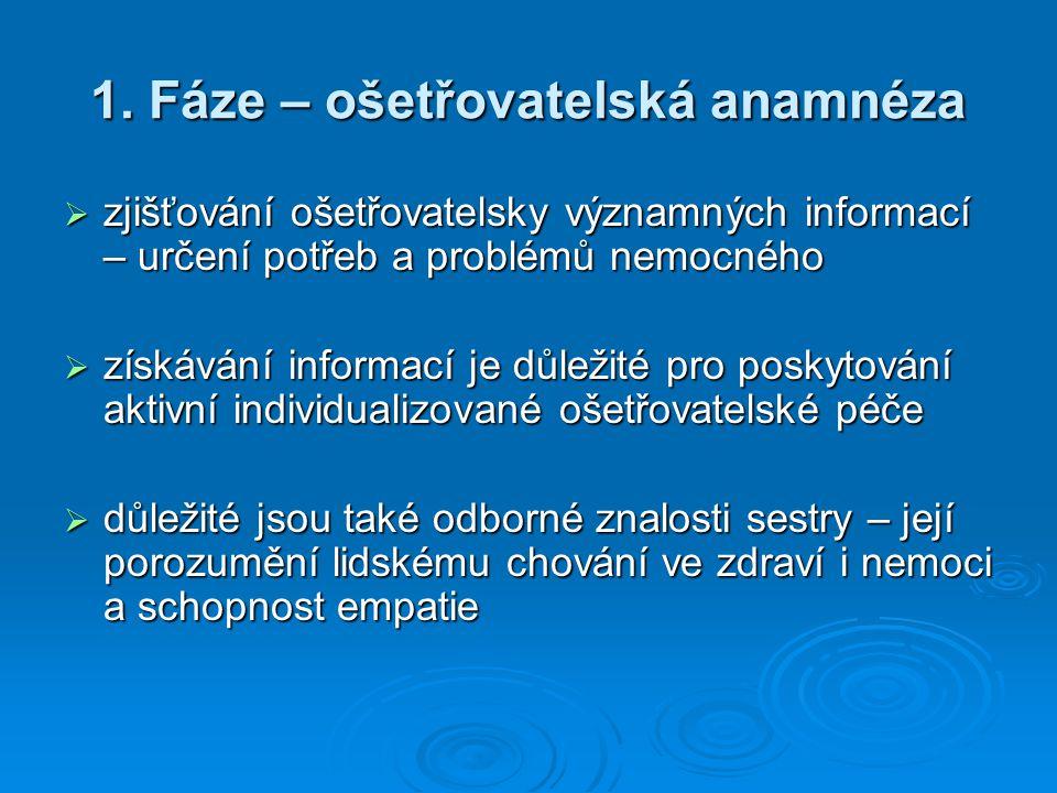 1. Fáze – ošetřovatelská anamnéza  zjišťování ošetřovatelsky významných informací – určení potřeb a problémů nemocného  získávání informací je důlež