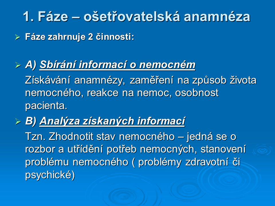 1. Fáze – ošetřovatelská anamnéza  Fáze zahrnuje 2 činnosti:  A) Sbírání informací o nemocném Získávání anamnézy, zaměření na způsob života nemocnéh