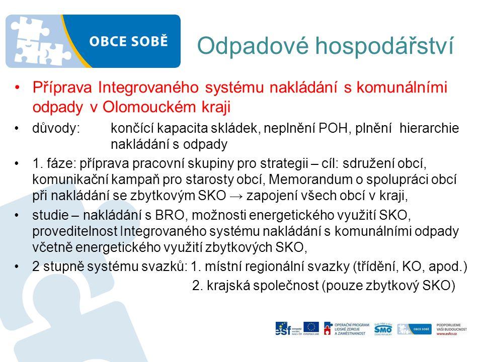 Odpadové hospodářství •Příprava Integrovaného systému nakládání s komunálními odpady v Olomouckém kraji •důvody: končící kapacita skládek, neplnění PO